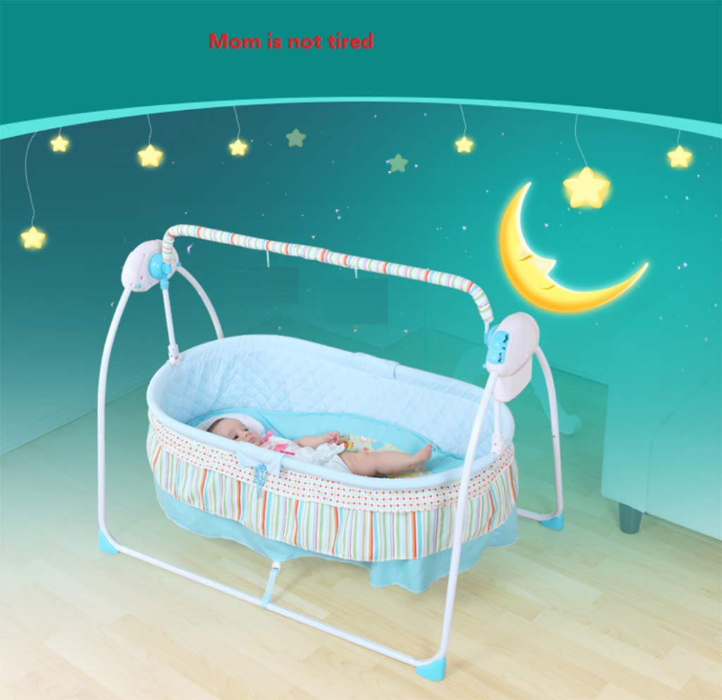 Baby Electric Cradle Bed - Baby Rocking Chair, comforting Cradle Bed, Baby cot, Basket The Bracket can be Separated for Easy Folding,Suitable for 0 to 1 Year Old AYUANCHUN The portable cradle is the perfect solution for parents looking for a well-designed cradle, and it also provides excellent portability. The cradle can be easily folded and made of durable lightweight frame for easy transport. The cradle features a double canopy made of elastic mesh to protect the final insects and mosquitoes. Breathable mosquito nets, don't worry about mosquito harassment, let your baby sleep well. Easy to install and fold without any tools, saving storage space. 6