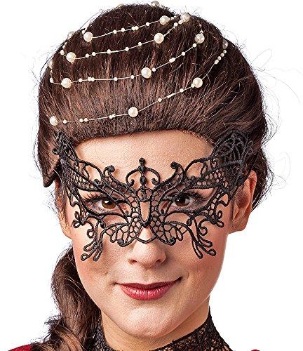 Hexe Verruchte Kostüm - Spitzenmaske Schmetterling - Schwarz - Maskerade für Kostümball, Maskenball und Fasching