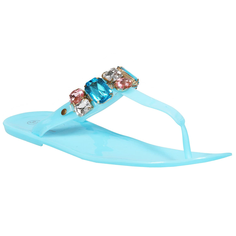 Ladies Girls Beach Summer Retro Flats Diamonte Jelly Flip Flop Womens Shoes Size