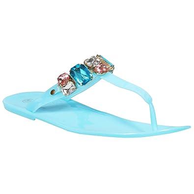 c35fcb8608af ShopOnline® NEW LADIES SLIP ON JELLY WOMENS FLAT SUMMER DIAMANTE TOE POST  FLIP FLOPS BEACH SANDALS SIZE  Amazon.co.uk  Shoes   Bags