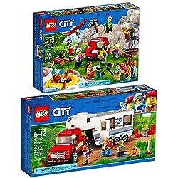 Lego City Set en 2 Parties 60202 60182 Les Aventures en Plein air + Le Pick-up et sa Caravane