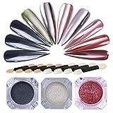 NICOLE DIARY 3 Boîtes Chrome Brillant Paillettes Miroir Effet Poudre à Ongles Magique Nail Art Pigment Poussière Manucure Décoration avec 8 Pcs Ombre à Paupières Maquillage Éponge Bâton Brosse