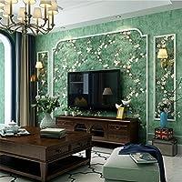 Hu0026M Tapete Retro Nostalgie Landhausstil Blumenmuster 3D Wallpaper Roll Für  Wohnzimmer/Schlafzimmer/TV Wand