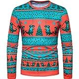 BHYDRY Christmas Mens Long Sleeve Tshirts Autumn Winter Xmas PrintingTop Cotton Blend Blouse(UK-8/CN-M,Multicolor-B)