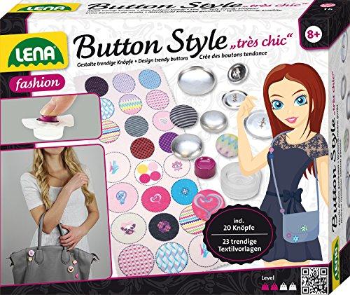 Lena 42595 - Bastelset Button Style très chic, Komplettset mit 20 Metall Knöpfen und Werkzeug in 3 Größen, 23 Textilvorlagen mit tollen Designs und Sprüchen, Mode Styling Set für Kinder ab 8 Jahre