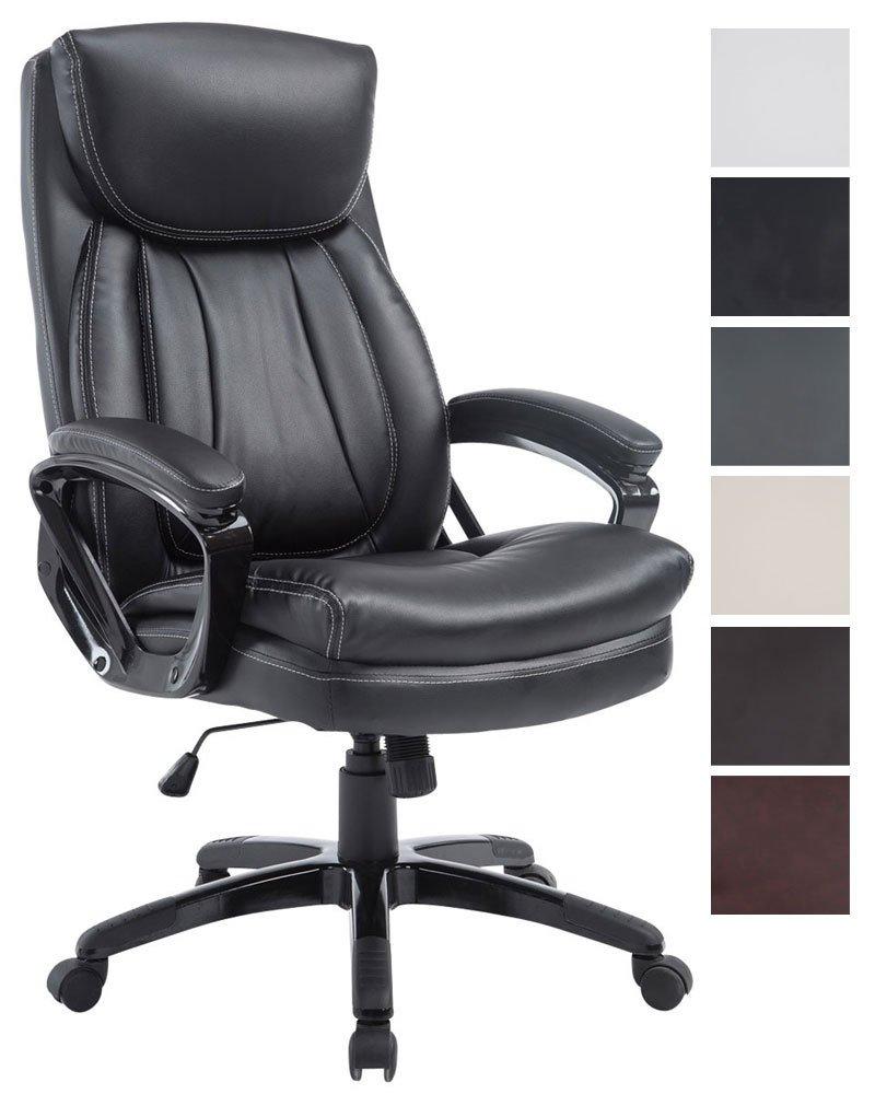 Silla De Oficina XL Platon En Cuero Sintético I Silla De Escritorio Regulable En Altura I Silla De Ordenador Ergónomica con Ruedas I Color:, Color:Negro