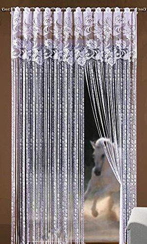 Rideau voilage Blanc Motif floral 150x 250cm Porte Fenêtre Moustiquaire Pompon Frange