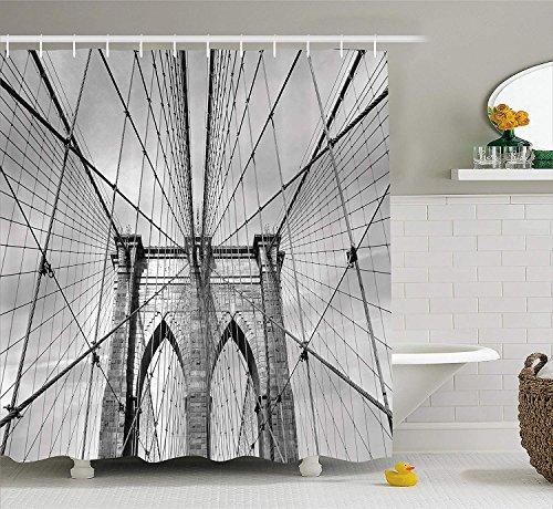 AdaCrazy USA New York Brooklyn Bridge Stadtbild Landschaft Fotoabzug Landschaft Duschvorhang Stoff Badezimmer Dekor Set mit Haken Holzkohle Weiße -