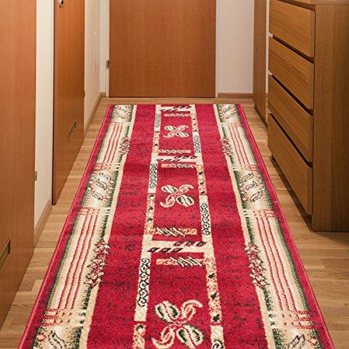 Tapiso Atlas Läufer Flur Kurzflor Teppich Küche Wohnzimmer Viereck Streifen Kaffee Retro Abstrakt Muster Rot Beige Meliert ÖKOTEX 60 x 100 cm