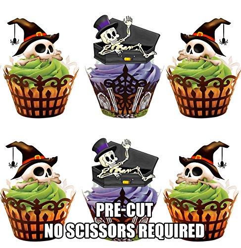 Vorgeschnittene Halloween Skelette Mit Hüten - Essbare Cupcake Topper / Kuchendekorationen (12 (Dekoration Cupcakes Halloween)