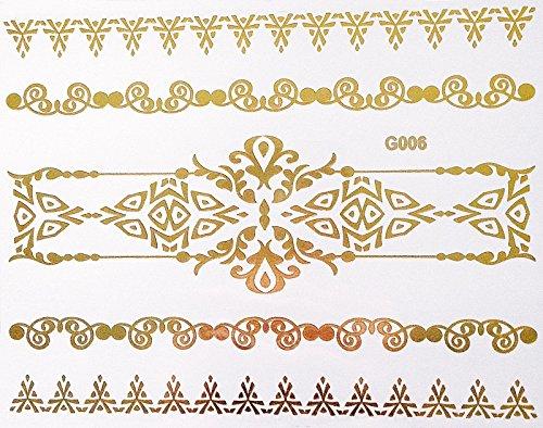 Super Nah-folie (Wunderschönes Flash Einmal Klebe Metallic Tattoo Gold für Arme Finger Körper ideal für Strand Disco Party Hochzeit Feiern Fasching G6)