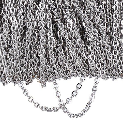 (20M Lang 0,15cm Breite) 1 Rolle Gliederkette Link Kette Metallkette Schmuckkette Halsketten Edelstahl Silber zum Halskette Armband DIY Basteln Schmuckherstellung