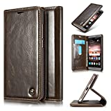 Roreikes Huawei Mate 9 Hülle, Huawei Mate 9 (5,9 Zoll) Case, Premium PU Leder Folio Flip Case mit Card Slot Kickstand Magnetic Wallet Case für Huawei Mate 9 (5,9 Zoll) - Braun -