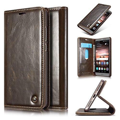 Preisvergleich Produktbild Roreikes Huawei Mate 9 Hülle, Huawei Mate 9 (5,9 Zoll) Case, Premium PU Leder Folio Flip Case mit Card Slot Kickstand Magnetic Wallet Case für Huawei Mate 9 (5,9 Zoll) - Braun