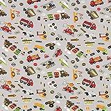 Fabulous Fabrics Jersey Stoff Autos Bagger Feuewehr – grau — Meterware ab 0,5m — zum Nähen von Tops und Shirts, Pyjamas und Kinderbekleidung