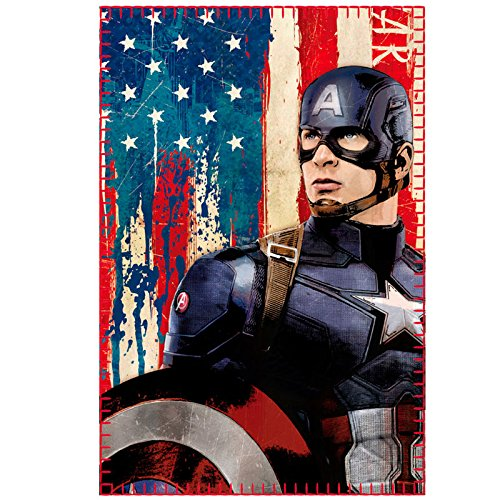 Marvel Avengers - Coperta in pile plaid morbido 100x150cm Captain America Civil War