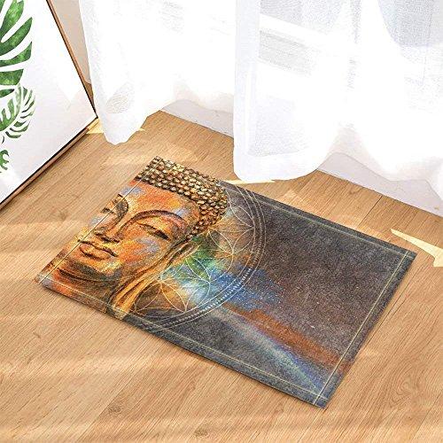 GAOFENFFR Art Deco Aquarell Buddha Kopf Zen Buddhismus Wasserdicht, langlebig, rutschfest, Keine Chemikalien -