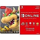 Nintendo eShop Card | 50 GBP (Download Code) + Nintendo Switch Online Membership 12 Months (Download Code)