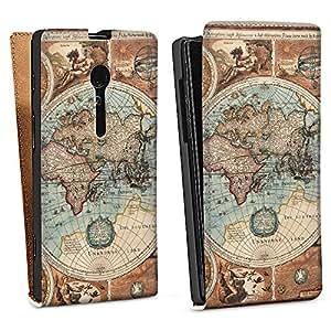 Sony Xperia Ion Tasche Schutz Hülle Walletcase Bookstyle Vintage Weltkarte Karte Map