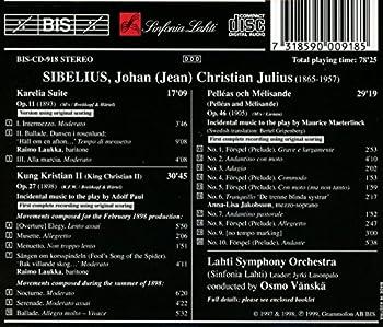 Karelia Suite King Christian Ii Pelléas Et Mélisande - Original Versions 1