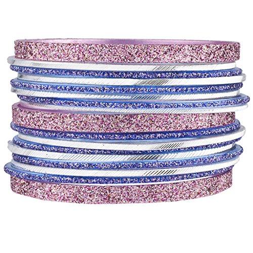 Lux Accessories Damen-Armreif-Set, Silberfarben, rosa-glitzernd, für indische Hochzeiten, 17 Stück