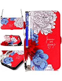 Leather Wallet Case for iPhone 6/6S,iPhone 6/6S Flip Case,EUWLY iPhone 6/6S Magnetic Flip Case Protective Case Cover with Chain Hand Strap and Flower Decoration Ultra Slim Anti-Shock Pure Leather Pu Case Flip Wallet Shockproof Protective Case Cover with Function Stand and Credit Card Slots for iPhone 6/6S + 1 x Stylus - Flower # 3