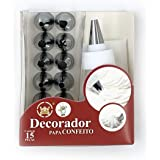 Vizora 15 Piece Cake Decorating Set Frosting Icing Piping Bag Tips with Steel Nozzles. Reusable & Washable Silicon Bag