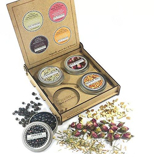 GIN-UPGRADE 2, Gin Gewürze Set, Geschenk für Männer, Frauen, 4 Botanicals Probierset, handmade Geschenkbox, Geschenkidee