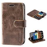 Mulbess Ledertasche im Ständer Book Case / Kartenfach für Samsung Galaxy XCover 3 Tasche Hülle Leder Etui,Vintage Braun