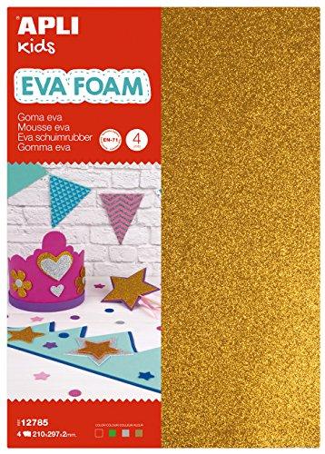 APLI Kids - Bolsa goma EVA purpurina, colores plata, oro, rojo y verde, A4 4 hojas