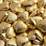 Gold Foil Wrapped Milk Chocolate Hearts Wedding Party Table Favours - 100 Pk