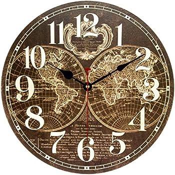 Ufengke Horloge Murale Silencieuse Vintage Carte Du Monde Marron Pendule Quartz Cadran Bois Salon Chambre Bureau Décor 30 Cm