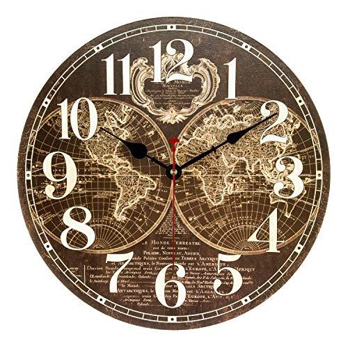 Ufengke orologio da parete in legno vintage mappa del mondo marrone orologio da muro al quarzo silenzioso grandi numeri 30 cm