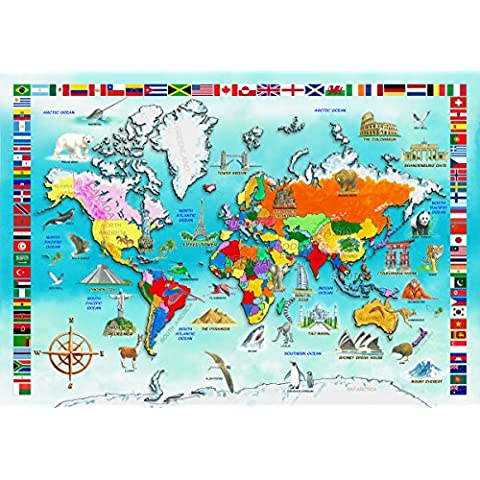 Wentworth Wooden Puzzle, I Know, my World Map 50pc - Whimsy Snowman