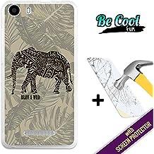 Becool® Fun- Funda Gel Flexible para Wiko Lenny 2 [ +1 Protector Cristal Vidrio Templado ],Carcasa TPU fabricada con la mejor Silicona, protege y se adapta a la perfección a tu Smartphone, con nuestro exclusivo diseño. Dibujo étnico elefante