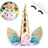 HASTHIP® Cake Toppers | Handmade Gold Unicorn Birthday Cake Topper | Reusable Unicorn Horn | Ears Eyelash Set | Unicorn…