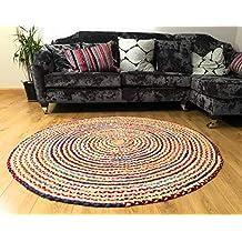 Fair Trade Alfombra grande redonda trenzada de algodón, yute, multicolor, chindi, de