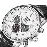 Herren-Business Quarz Uhr mit schwarzem Lederband wasserdicht Datum Woche Display Analog Handgelenk Uhren