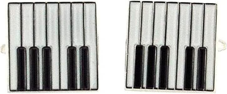 Artamis Boutons de Manchette Piano Carrés en Métal Argenté avec Boîte de Présentation