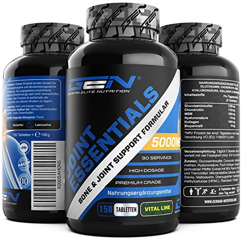 Joint Essentials - 150 Tabletten - Hochdosiert mit 5000 mg pro Tag - Glucosamine + Chondrotin + MSM + Hyaluronsäure + Kollagen + Bioperine - Prävention bei Gelenkschmerzen & Arthrose - Gelenk Supplement - German Elite Nutrition