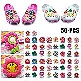 ZOYLINK 50 STÜCK Schuhe Charme Schuhanhänger für Crocs Schuhe Dekoration Charme Modische süße Blume Form PVC Schuhe Dekor (Zufällige Farbe)