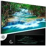murando - Leinwand Bilder nachtleuchtend 120x40 cm - Tag & Nacht Wandbilder - Premium - Bilder 3D nachleuchtende Farben - Kunstdruck - Vlies Leinwand XXL - Fertig Aufgespannt - Wasserfall Natur Landschaft c-B-0160-ag-a