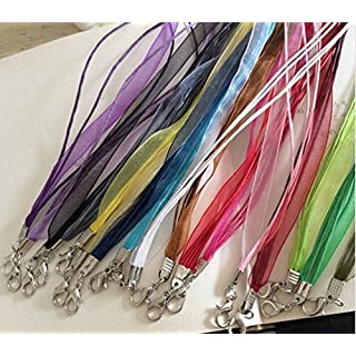 Vinallo 20pcs 18'' Organza Voile Ribbon Necklace Chain Silk Waxed Cord Mix Color Spinning Craft Organza Silk Ribbon Necklaces Cord Lobster Clasp