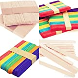e shopping® 100 colored and 100 plain natural wooden premium quality ice cream popsicle sticks for school projects Multi colo