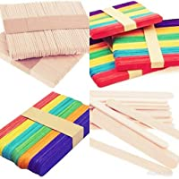 E Shopping Natural Ice Cream Popsicle Sticks for School Projects -Pack of 100 (50 Multicolour and 50 Wooden Coloured)