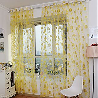 AMSS Yellow Rose Flower Window Sheer Curtain Panels 2m Width x 2.7m Drop, Grommets, 2 panels