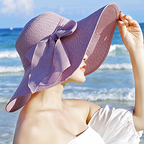 Upper-Profitez de l'anti-soleil pliable Hat Beach Hat Beach Hat seaside holiday Hat Light purple