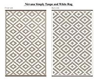 Green Decore Lightweight Indoor/ Outdoor Reversible Plastic Rug Nirvana Taupe \ White - 5x8 ft (150 x 240 cm), Taupe/White from Green Decore