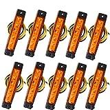 Fushengda 10 piezas 6 SMD LED ámbar naranja 12 V indicadores laterales luces delanteras luces de posición de la luz lateral delantera Indicador de luces de posición para remolque, camión, caravana, furgoneta, autobús, barco, tractor autocaravana