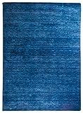 Morgenland Gabbeh Teppich UNI 350 x 250 cm Blau Einfarbig Melierung Modern Orient Teppich Handgearbeitet 100% Schurwolle Wollteppich Weich Dicht Fest Kuschelig Gemütlich Für Wohnzimmer Kinderzimmer Flur Küche - Viele Größen